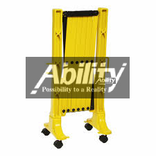 Metal expandable barrier with wheels